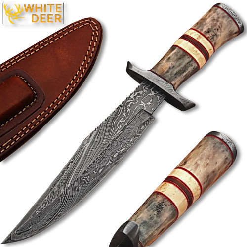 WHITE DEER Damascus Steel Hunting Knife w/ Giraffe & Camel Bone