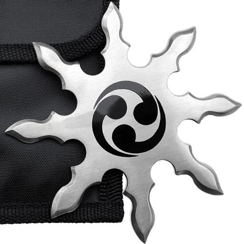 Shinobi Ninja Star Triple Fireball 8 Point Double Curving Edges