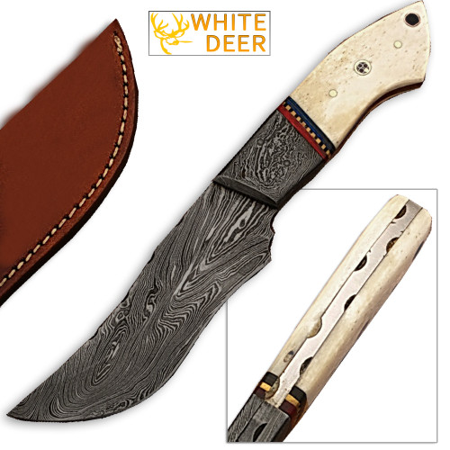 White Deer Damascus Steel Custom Knife Camel Bone Handle