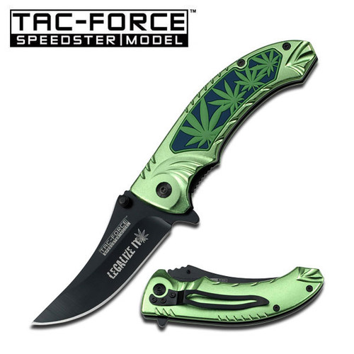 Green Marijuana Handle Assisted Opening Folder Knife
