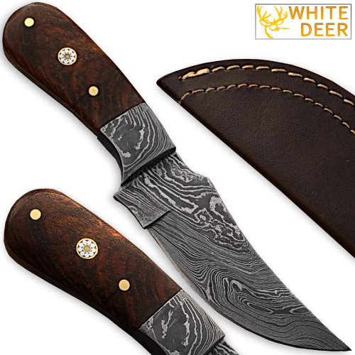 Custom Made Damascus Steel Skinner Knife w/ Hardwood Handle