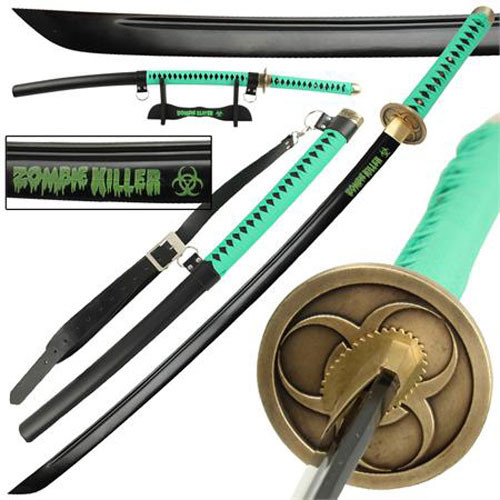Zombie Killer High Carbon Steel Full Tang Katana Sword Hi-Vis Green