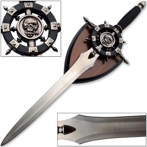 Captain Silver Pirate Dagger Black Sails & Display Plaque