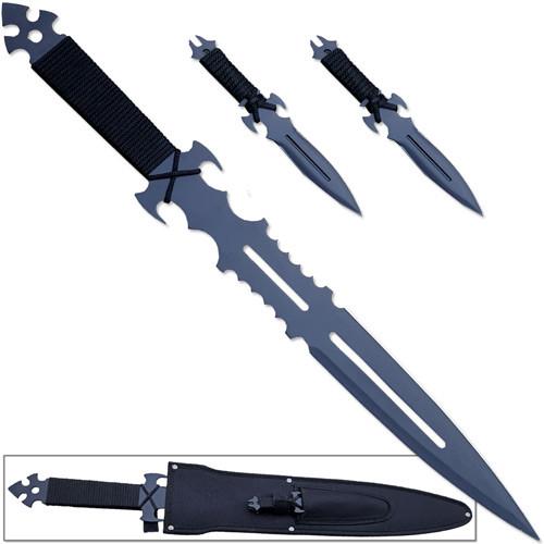 Ninja Set Dark Knight Warrior Sword & 2 Throwing Knives w Sheath