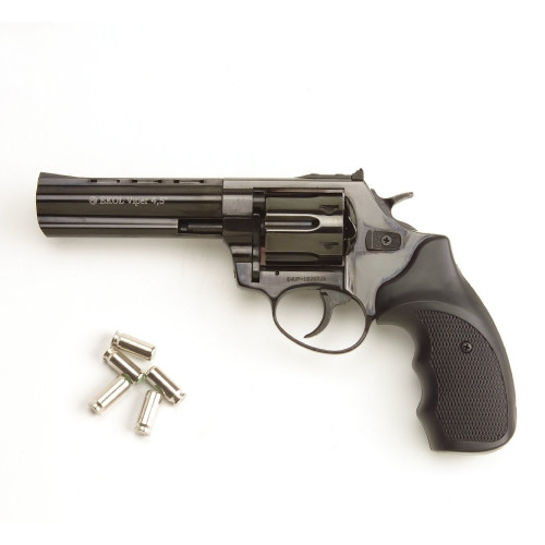 Viper 4.5 Barrel 9mm Blank Firing Revolver Black Finish
