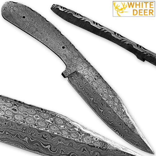 White Deer Damascus Blank Knife Full Tang Bird Eye Pattern