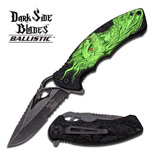 Dark Side Green Skull Spring Assisted Knife