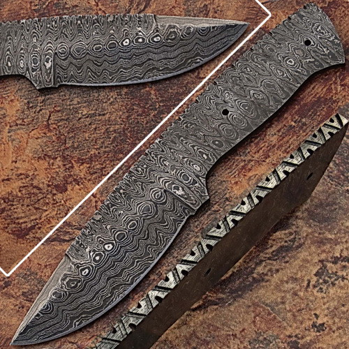 Blank Blade Damascus  Eye Bird Pattren Full Tang Skiner Knife 2