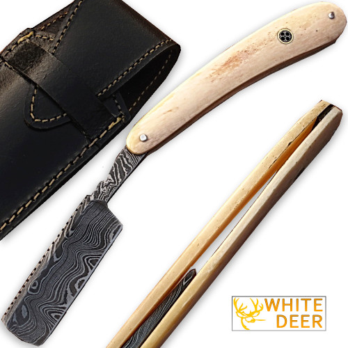 Custom Made Damascus Steel Straight Razor w/ Camel Bone Handle