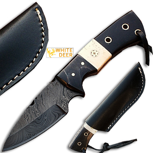White Deer Skiner Damascus Steel Knife