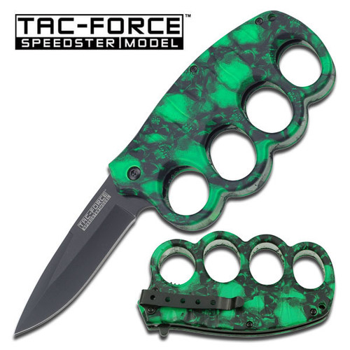 GREEN SKULL CAMO HANDLE KNUCKLE SPRING ASSIST