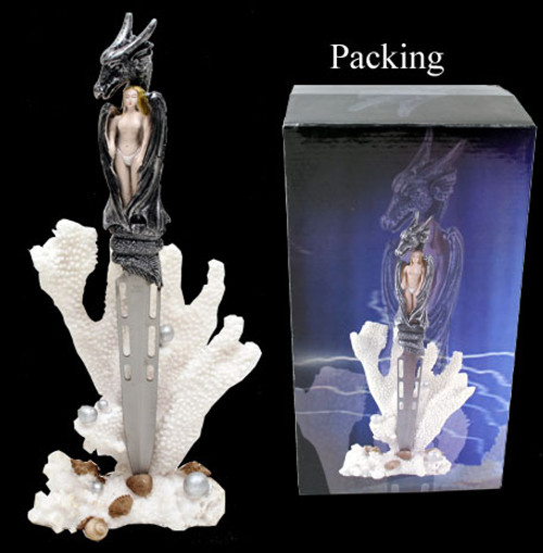 Fantasy Dragon Dagger With Ice Color Table Stand