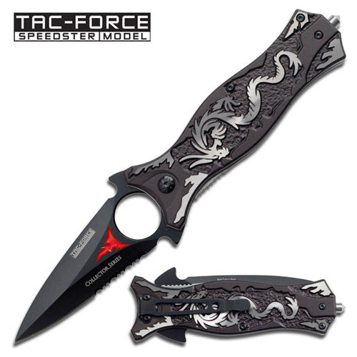 Spring Assist - 'Legal Automatic' Knife - Dragon Dagger Grey