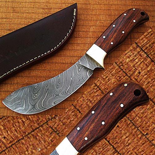 CUSTOM MADE DAMASCUS BUFFALO SKINNER KNIFE 1