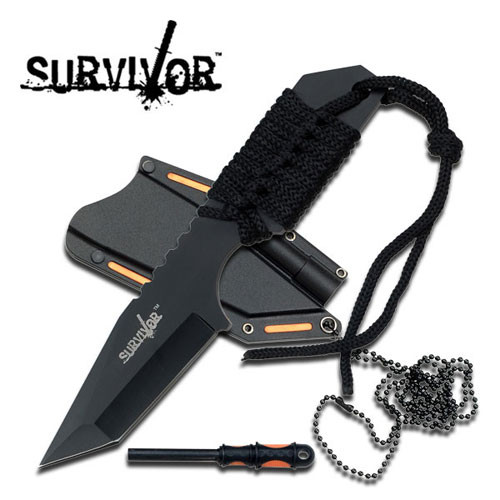 SURVIVOR  FIXED BLADE NECK KNIFE W/ FIRE STARTER