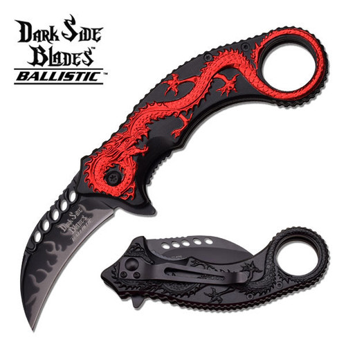 Dark Side Blades Red Dragon Spring Assisted Knife w Finger Hole