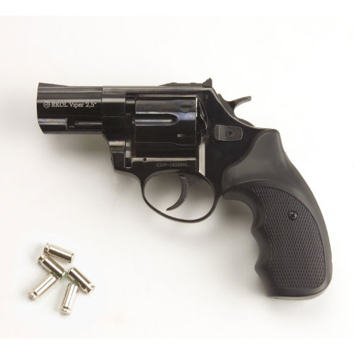 Viper 2.5 Barrel 9mm Blank Firing Revolver Black Finish (CLONE of Taurus 605 .357 magnum)