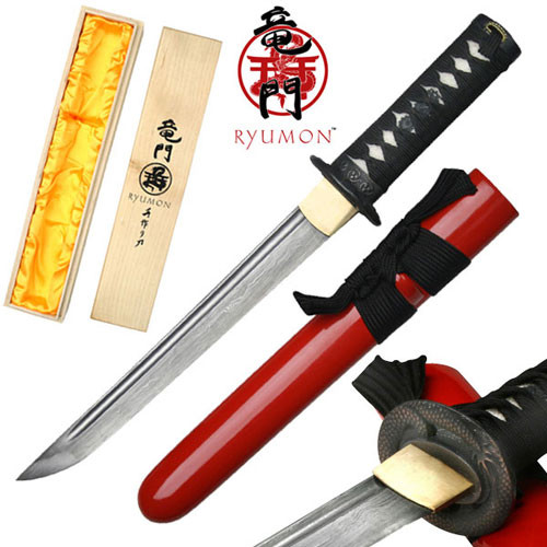 Ryumon - Folded 1065 Dragon Tsuba Tanto Red