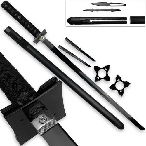 Ultimate Warrior Ninja Straitblade Katana Set All Black