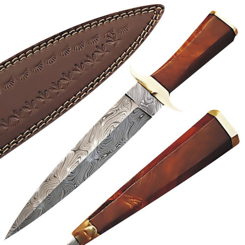 Custom Made Damascus Steel Hunting Knife w/ Cocobolo Wood Handle