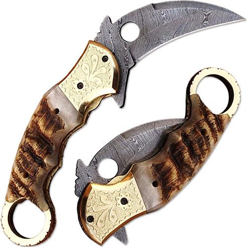 Exotic Karambit Damascus Folding Knife Ram Horn Grip Engraved Br