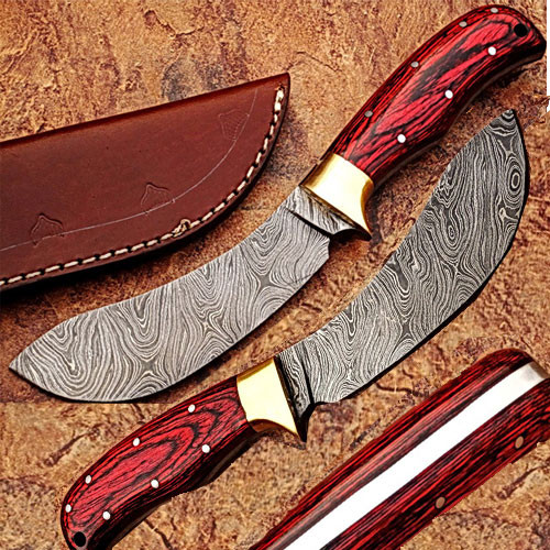 CUSTOM MADE DAMASCUS EXOTIC DOLLAR WOOD HANDLE BUFFALO SKINNER 1
