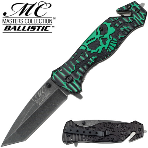 Masters Collection TACTICAL Knife Green Black Skull Tanto GLASS Breaker Rescue