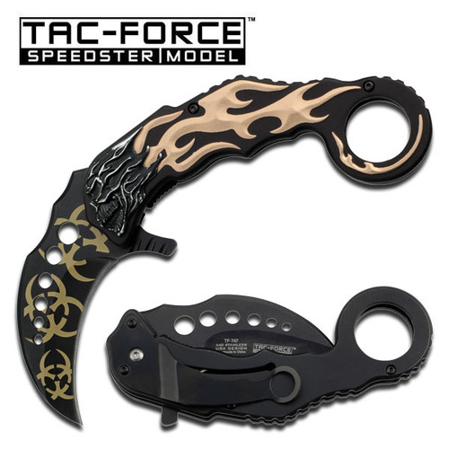 Karambit Style Tan Flaming Skull Handle Assisted Opening Knife