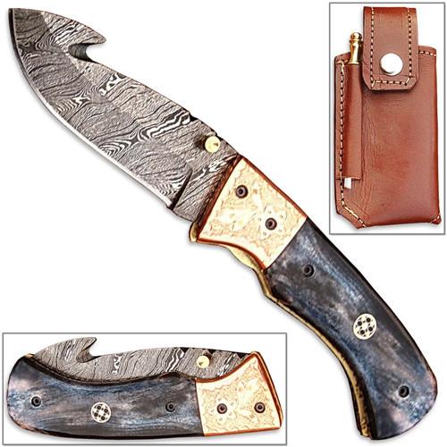 Damascus Folding Guthook Knife Giraffe Bone Handle Engraved Bras