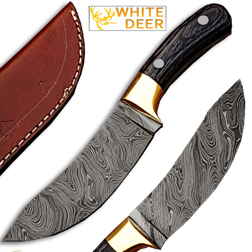 "White Deer Custom Made Damascus Steel  Exotic Wood Handle 9""Buffalo Skinner"