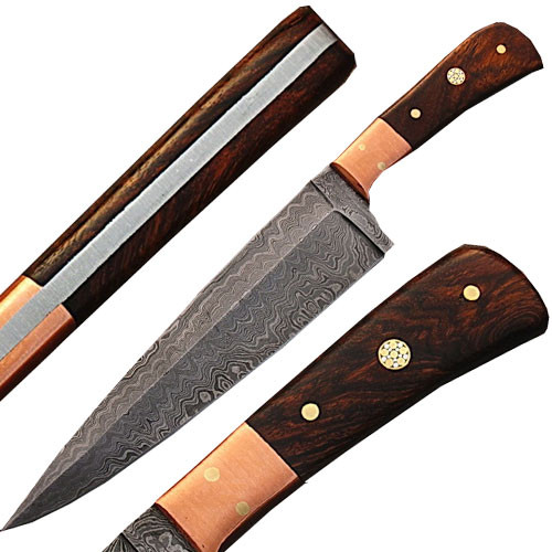Handmade Damascus Copper Guard Chef Knife Cocobolo Wood Handle
