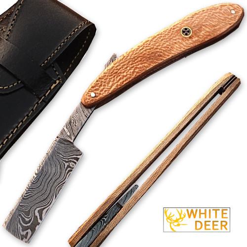White Deer Damascus Steel Straight Razor w/ Olive Wood Handle