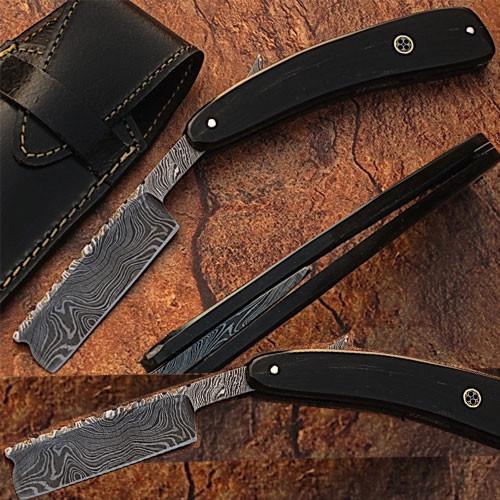 Custom Made Damascus Steel Straight Razor w/ Buffalo Horn Handle