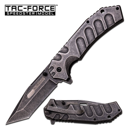 "Tac Force Tactical Spring Assisted Folding Pocket Knife 9""Stone Washed Tanto"