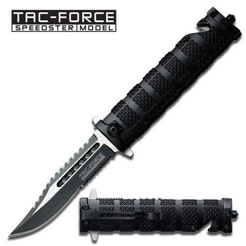 TAC FORCE Spring Assisted Open SAWBACK BOWIE Tactical Rescue Pocket Knife 710BK