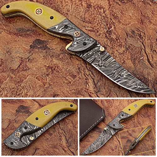 Alaska Mariners Folding Damascus Knife
