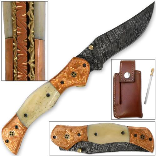 Magnum Rancher Damascus Folding Knife