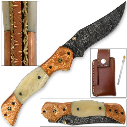 Magnum Rancher Damascus Folding Knife