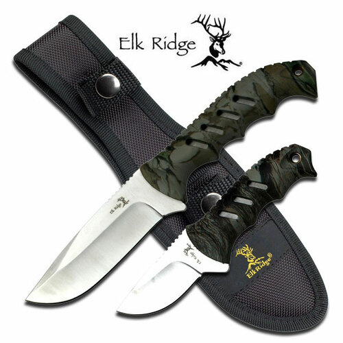 Elk Ridge 2-Pc. Camo Fixed-Blade Hunting Skinning Knife Set