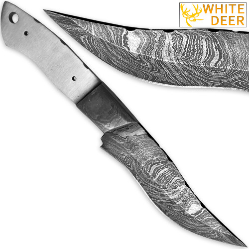 1095HC Damascus Steel Clip-Pont Bowie Knife Blank