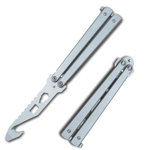 Have one to sell? Sell now Butterfly Multi Functional Balisong Belt Cutter Gut Hook Tool Bottle Opener