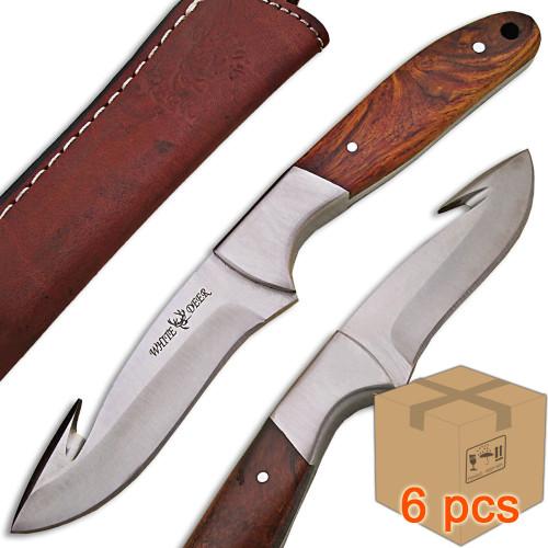 Case of 6pcs WHITE DEER J2 Steel Hunters Guthook Skinner Knife Wood Grip Drop Point