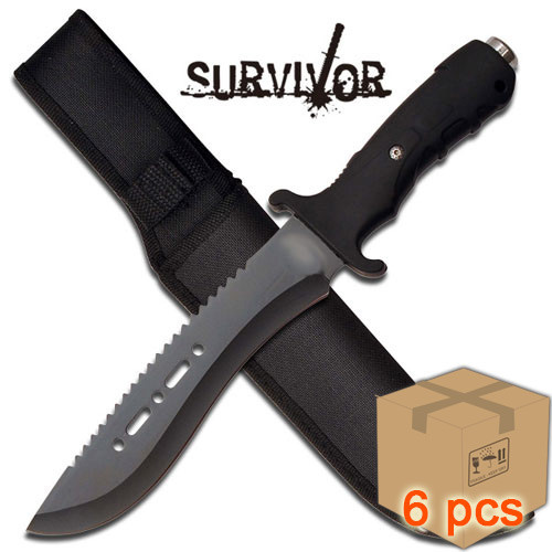 Case of 6pcs Sawback Survivor Ultimate Extractor Bowie Survival Knife Black Glass Breaker