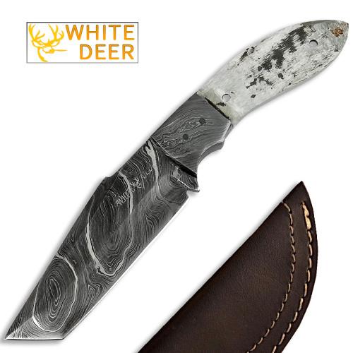 White Deer 1095HC Damascus Steel Japanese Tanto Knife Blank