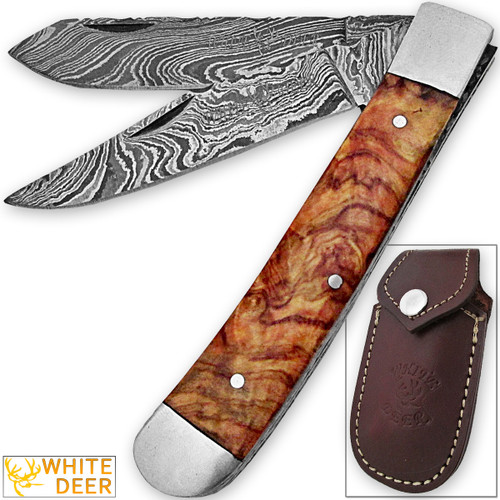 White Deer Master Trapper Damascus Knife Cocobolo Wood