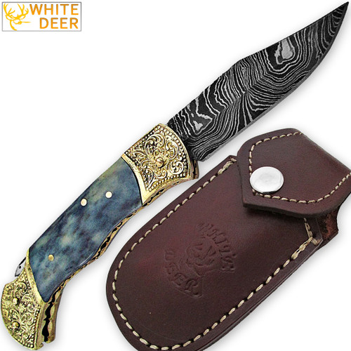 WHITE DEER Lockback Damascus Folding Knife Grey Giraffe Bone