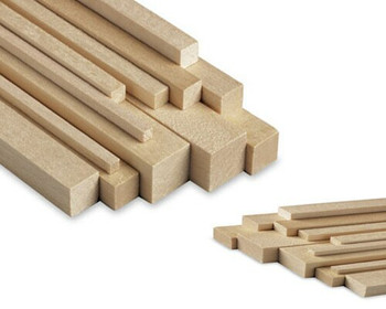 "Basswood stick, 1/16 x 3/16 x 48"", Sold By Each 