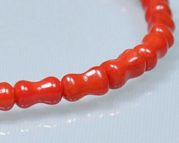 """Dogbone Red Coral (Dyed) Beads 3.5x6mm 