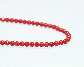 """Faceted Red Coral (Dyed) Beads 5mm 