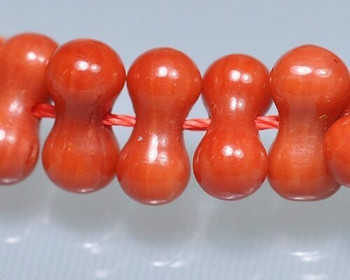 """Dogbone Red Coral (Dyed) Hand-cut Beads 4x8mm 